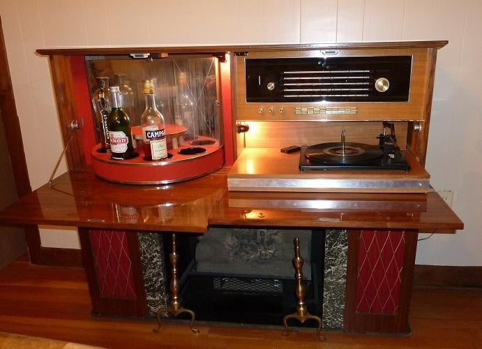 Koronette Stereo Bar Fireplace Specializing In Mid Century