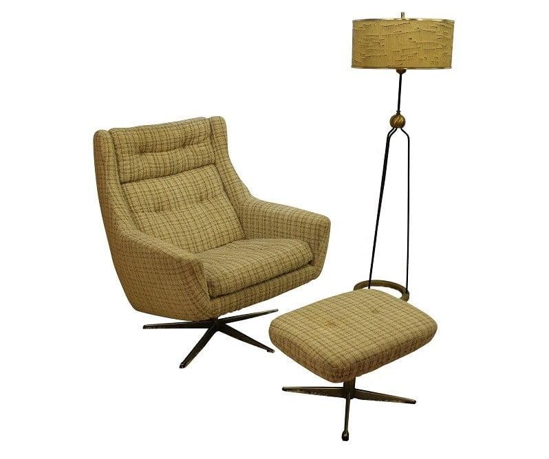 John Stuart Chair And Ottoman Upholstered  
