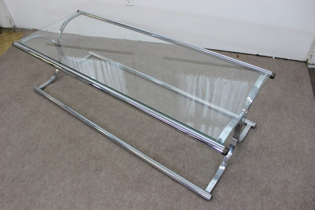 Mid century modern chrome and glass tubular coffee table for Tubular window design